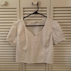 Cropped Puff Sleeve V-Neck Blouse